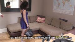 Chubby brunette banged on interview