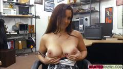 Slutty brunette milf fucks a pawndudes cock for money