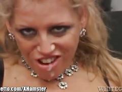 Whiteghetto horny milf sucks 3 black cocks
