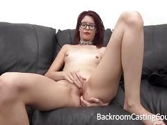Slave christy chokes herself to anal orgasm