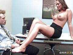 Hot busty bitch playing dirty at work
