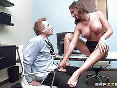 milf, office, busty, brunette, undressing, pierced nipples, sucking tits, sucking nipples, licking feet, feetjob, at work, big tits at work, brazzers network, destiny dixon, bill bailey