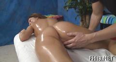 Beautiful babe fucked hard on the massage table