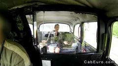 Beautiful british amateur banging in a cab hard
