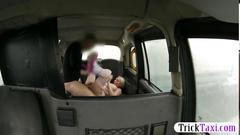 Blonde slut rammed in a taxi
