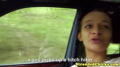Hitch hiking euro babe talking dirty about sex