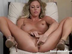 Samantha saint strips off her sexy peach lingerie
