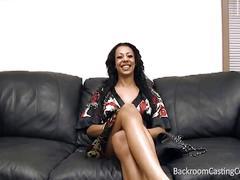 Backroom casting couch with sexy ebony babe ziba