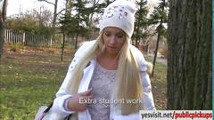 Amateur eurobabe kiara drilled for money in a park