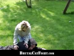 Outdoor fucking ensues after a nasty catfight