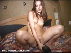 Canadian newbie enjoys massive dildo