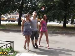 Two hot brunette sluts share a hard rod of meat