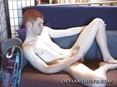 Tristian strips naked and flaunts cock