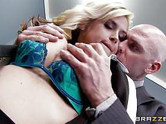 milf, blonde, busty, titjob, undressing, pussy eating, squeezing tits, at work, big tits at work, brazzers network, johnny sins, sarah vandella