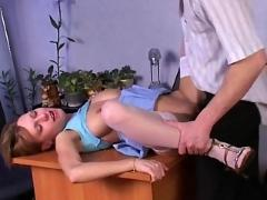 Thin russian girl with big boobs fucked on table