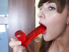 Cute teen fucking with dildo