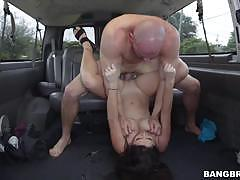 karlee grey, brunette, blowjob, riding, doggystyle, car, cowgirl, pick up, pile driver, sucking, picked up
