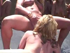 Lesbian sexy girl pussy eating action in public