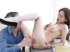 Tricky old teacher - sweetie gives her teacher sex satisfaction