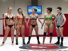 Busty babes having a three-way wrestling match!