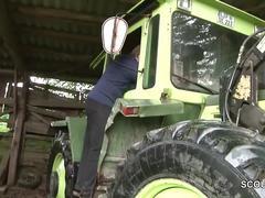 German milf mom and dad fuck outdoor on farm