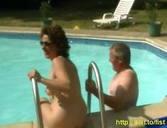 Extreme garden sex,  mature french couple