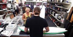 Blonde hair dude gets slammed by two huge cock in the shop movie