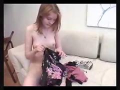 Beautiful ginger teen pays off her debt !