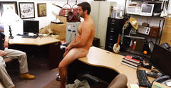 Blonde hair dude gets slammed by two huge cock in the shop segment