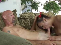 Brutal dick deeply in her shemale mouth