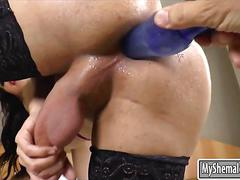Big boobs shemale anal toyed and handjobs her hard cock