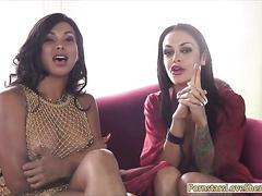 Sexy shemale vanity having fun with huge tits whore on sofa