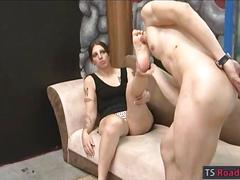 Horny ts anal pounded and receives jizz on her small tits
