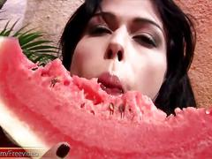 T-girl strokes and pounds her big shecock in a watermelon