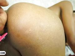 Latin tranny babe ass filled with whipped cream and fucked