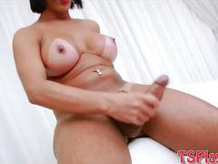 Bubble butt tranny sabrina suzuki strokes her hard cock