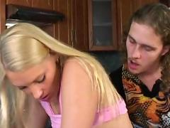 Hot blonde fucked at the kitchen