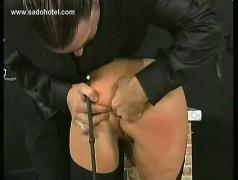 Master spanks horny slave on her pussy and butt and puts a finger up her tight asshole
