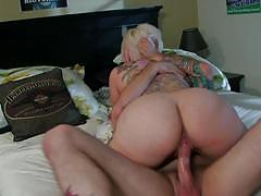 jessie lee, tommy pistol, blowjob, riding, cumshot, blonde, busty, reverse cowgirl, cowgirl, punk, sucking, licking pussy