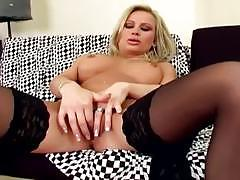 Lingerie sex videos stocking clad milf masturb...