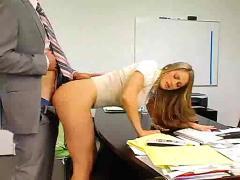 Amazing big tits milf in office