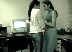 Lesbian girlfriends get freaky in a public workplace