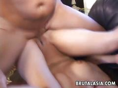 Bubble butt asian getting it stuck in there