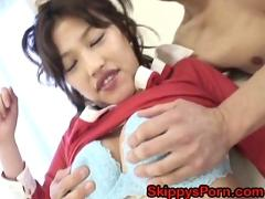 Cute japanese gets her pussy toyed