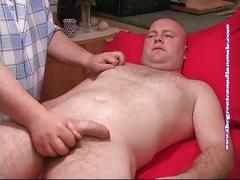 Mike gets his cock massaged and sucked.