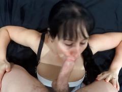 Slut on knees gives blowjob for huge facial