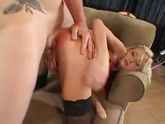 Blond slut suck on guys cock and he rubs fucks her