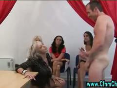 Humiliated guy fucks cfnm femdom bitch