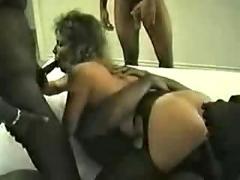 Black dicks gangbang a white pussy