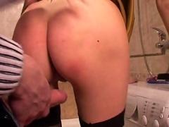 Morning sex in bathroom